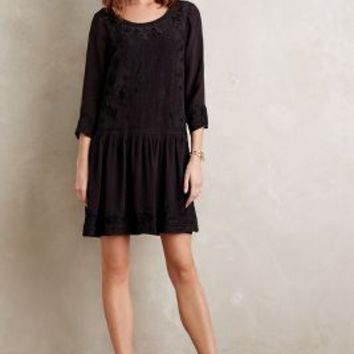 Velvet by Graham and Spencer Embroidered Drop-Waist Dress in Black Size: