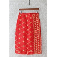 Vintage Embroidered Pencil Slip  Skirt