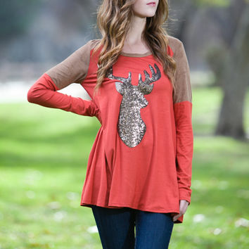Big Shot Rust Sequin Reindeer Top
