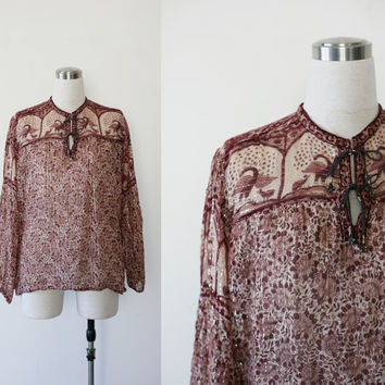 Vintage India gauze top, hippie cotton metallic boho Woodstock tunic blouse, peacocks birds and floral print