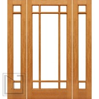 Prehung 9-Marginal French Brazilian Mahogany IG Glass Side lights Door