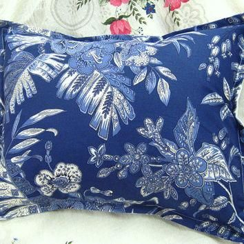 "TROPICAL PALM - Ralph Lauren Fabric - Pair Custom Made Pillow Shams - 12"" x 16"" Boudoi"
