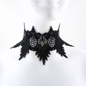 Massive Black Lace Choker Necklace with Glass Stones - Gothic, Dramatic, Burlesque, Wedding, Goth, Photo Prop