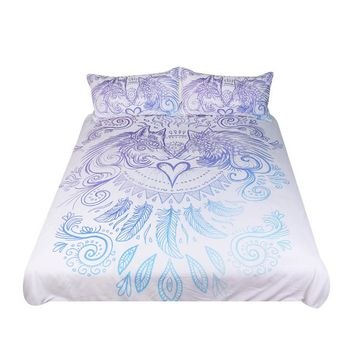 Wolves Heart by SunimaArt Bedding Set Blue and White Duvet Cover Feathers Bed Set 3-Piece Home Textiles For Couples