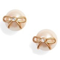 kate spade new york bow pearly bead stud earrings | Nordstrom
