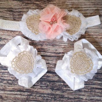 White Pink and Gold Lace Heart Headband and Barefoot Sandals Set - Baby Barefoot Sandals - Baby Girl Headbands - Baby Headbands - Infant
