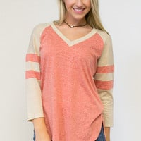 Athletic Hi-Low V-Neck Top