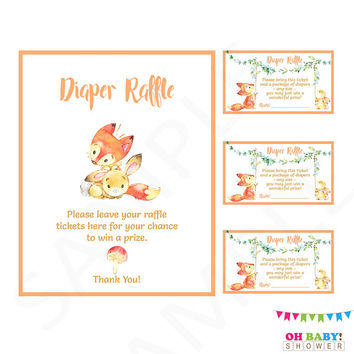 Fox Baby Shower. Diaper Raffle. Bunny Baby Shower. Diaper Raffle Sign. Diaper Raffle Woodland. Diaper Raffle Tickets. Printable. FXBN