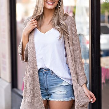 Out The Door Sweater Cardigan : Taupe