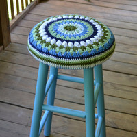 "Shabby Chic Stool 30""  high with Granny Square Crochet Cover Blue Green Upcycle Recycle"