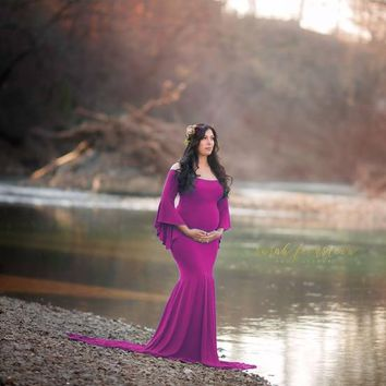 New Style Maternity photography props maxi gown Cotton Maternity Dress Maternity Fancy Photo Shoot pregnant dress Free shipping