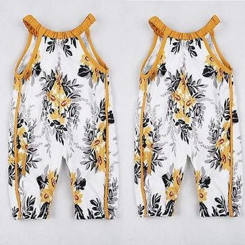 NEW Arrivel Infant Baby Girls Floral Sleeveless Romper Summer Jumpsuit Romper Clothes Outfits Set