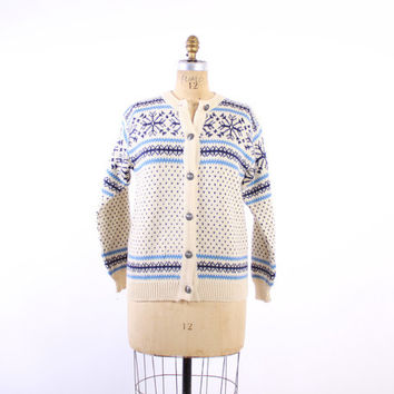 Vintage 60s NORWEGIAN CARDIGAN / 1960s Dale of Norway Ivory Wool Snowflake Knit Cardi Sweater M