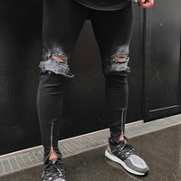 Black Slim Ripped Holes Fashion Jeans [10869556867]