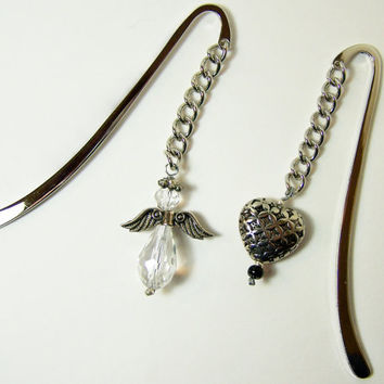 Silver Bookmark, Angel Bookmark, Heart Bookmark, Bead Bookmark,Mom Gift, Mother Day, Gift For Daughter, Guardian Angel, Sympathy Gift