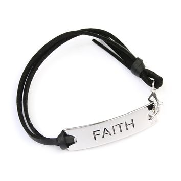 Faith Leather Strap Message Bracelet