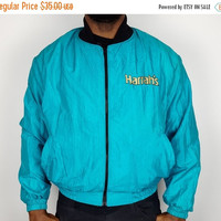 SALE XL Vintage 80s Harrahs Boxing Windbreaker Teal Aqua / Black Gold Teal Casino Windbreaker / 80s Atlantic City / 80s Las Vegas Casino Sou