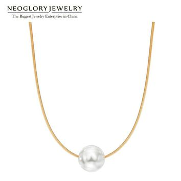 Neoglory Love Rose Gold Color Simulated Pearl Necklaces Fashion Jewelry for Women Girl Friend 2018 New Birthday Gifts