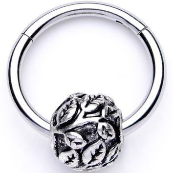 "16 Gauge 3/8"" Leaf Pattern Bead Hinged Segment Ring"