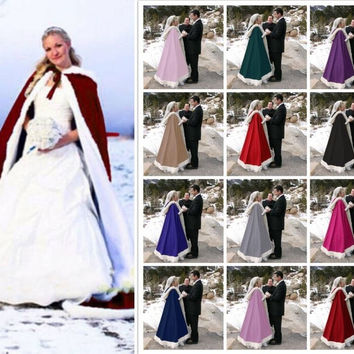 Floor Length Women Multi Color Faux Fur Trim Winter Christmas Bridal Cape Stunning Wedding Cloaks Hooded Long Party Wraps Jacket