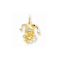 Solid 10k Yellow Gold Satin Jester Head Pendant
