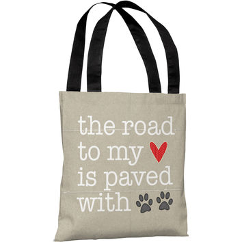"""Road To My Heart Is Paved With Pawprints"" 18""x18"" Tote Bag by Cheryl Overton"