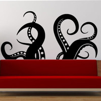 Octopus Tentacles wall Vinyl Sticker Art Decor Bedroom Design Mural  sea creatue kragen animal ocean MODERN