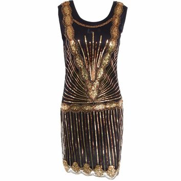 1920s Great Gastby Dress Sequined Gold Color Ethnic Beaded Flapper Elegant Dress Embellished Sexy Robe Women Party Dresses S-XL
