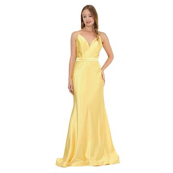 V-Neck Long Formal Dress with Spaghetti Strap Yellow