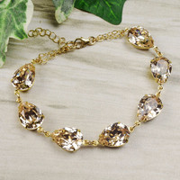 Swarovski Bracelet Gold - Bridal Jewelry - Crystal Bracelet Swarovski Jewelry - Choice of 18 Colors - Bridesmaid Bracelet - Wedding Jewelry