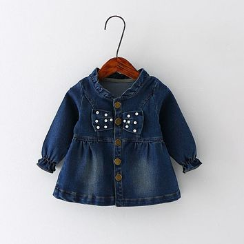 Spring Autumn Baby Girls Denim Jeans Long Sleeve Bow Button Jacket Coats Kids Children's Outerwear casaco roupas de bebe
