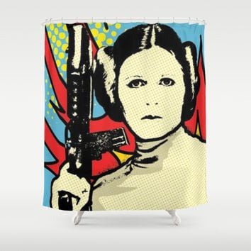 Princess Leia Pop Art Shower Curtain by Neon Monsters