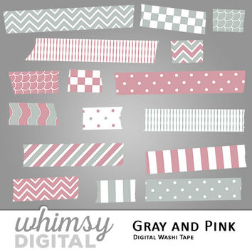 Gray and Pink Digital Washi Tape Clip Art with Stripes, Waves, Chevron, Polka Dots, Scallops, and Checkers in Pink, Gray, and White