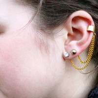 Double Lobe / Cartilage Ear Cuff - Gold