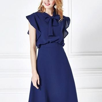 Chiffon Falbala Tie Neck Women's Day Dress