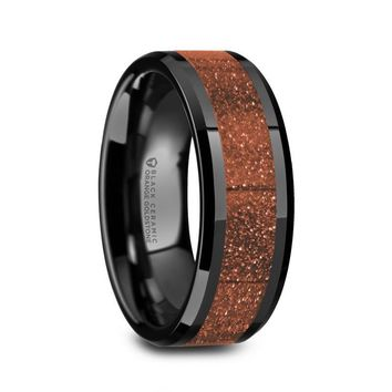 Orange Goldstone Inlay Black Ceramic Ring, Beveled Edges