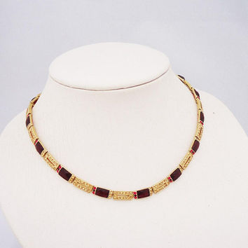 Vintage Monet Necklace, Monet Ruby Red Rhinestone Necklace, Necklace Signed Monet