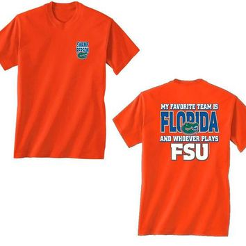 DCCKG8Q NCAA Florida Gators My Favorite Team Is Florida And Whoever Plays FSU Orange Shirt