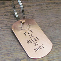 Copper STOCKING STUFFER Mens Key Chain Eat Sleep Hunt Key Chain Dog Tag Hand Stamped Gift For Dad Hunters Outdoorsman Antler Deer