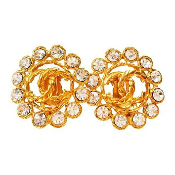 Pre-owned Chanel Super Shiny CC Gold Clip on Earrings