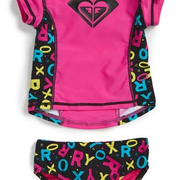 Infant Girl's Roxy 'Pop' Two-Piece Rashguard Swimsuit