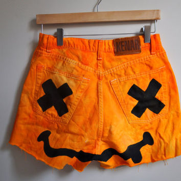 orange nirvana-inspired smiley cutoffs
