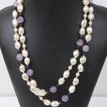 Faux Pearl and Lavender Glass Bead Necklace  40 Inch Rope Length Vintage
