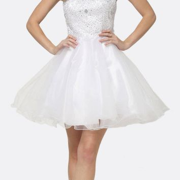 Fit-and-Flare Halter Neck Short Dress White Homecoming Party