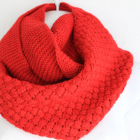 Chunky Knitted Infinity Scarf Cozy Knit Scarf Fall Scarf Snood Chunky Cowl Knitted Scarves for women