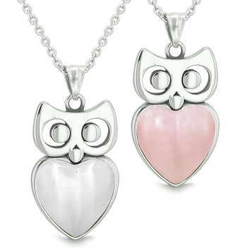 Amulets Owl Cute Hearts Love Couples or Best Friends Set White Cat's Eye and Pink Necklaces