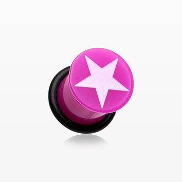 A Pair of Star Acrylic Single Flared Ear Gauge Plug