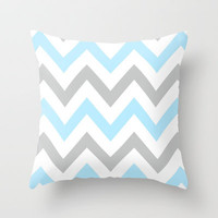BLUE & GRAY CHEVRON Throw Pillow by natalie sales