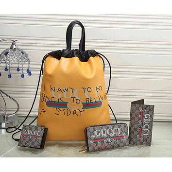 GUCCI Fashion Daypack Backpack Purse Wallet Clutch Bag Four Piece Suit