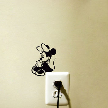 Minnie Mouse Light Switch Velvet Decal - Disney Laptop Sticker - Black Fabric Nursery Wall Decor - Cute Wall Sticker For Kids